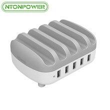 NTONPOWER Multi-Puerto USB Estación de Carga de 5 V 2.4A 40 W Inteligente Adaptador de Bus Escritorio Estación de Carga con Soporte para Samsung Xiaomi