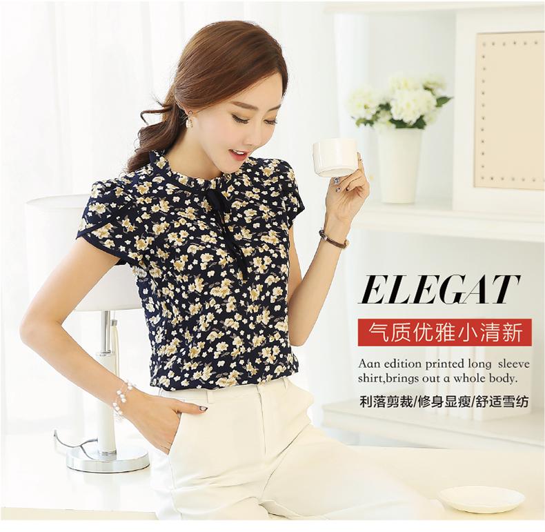 HTB1mFSSPVXXXXarXpXXq6xXFXXX5 - Summer Floral Print Chiffon Blouse Ruffled Collar Bow Neck Shirt