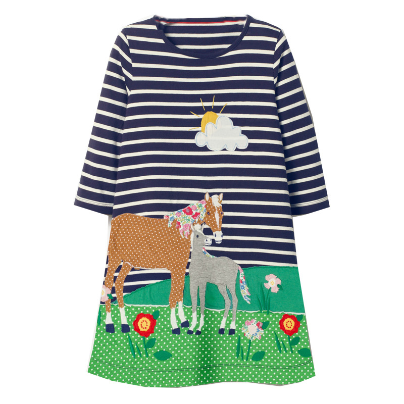 Jumping Meters Baby Girls Dress Robe Fille Cotton Kids Dresses for Girls Unicorn Costume Animal Applique Children Princess Dress laete 51084