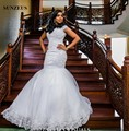 Cap Sleeves Mermaid Wedding Gowns Luxury Beaded Appliques Bridal Dresses African Vestidos Novia SAU546