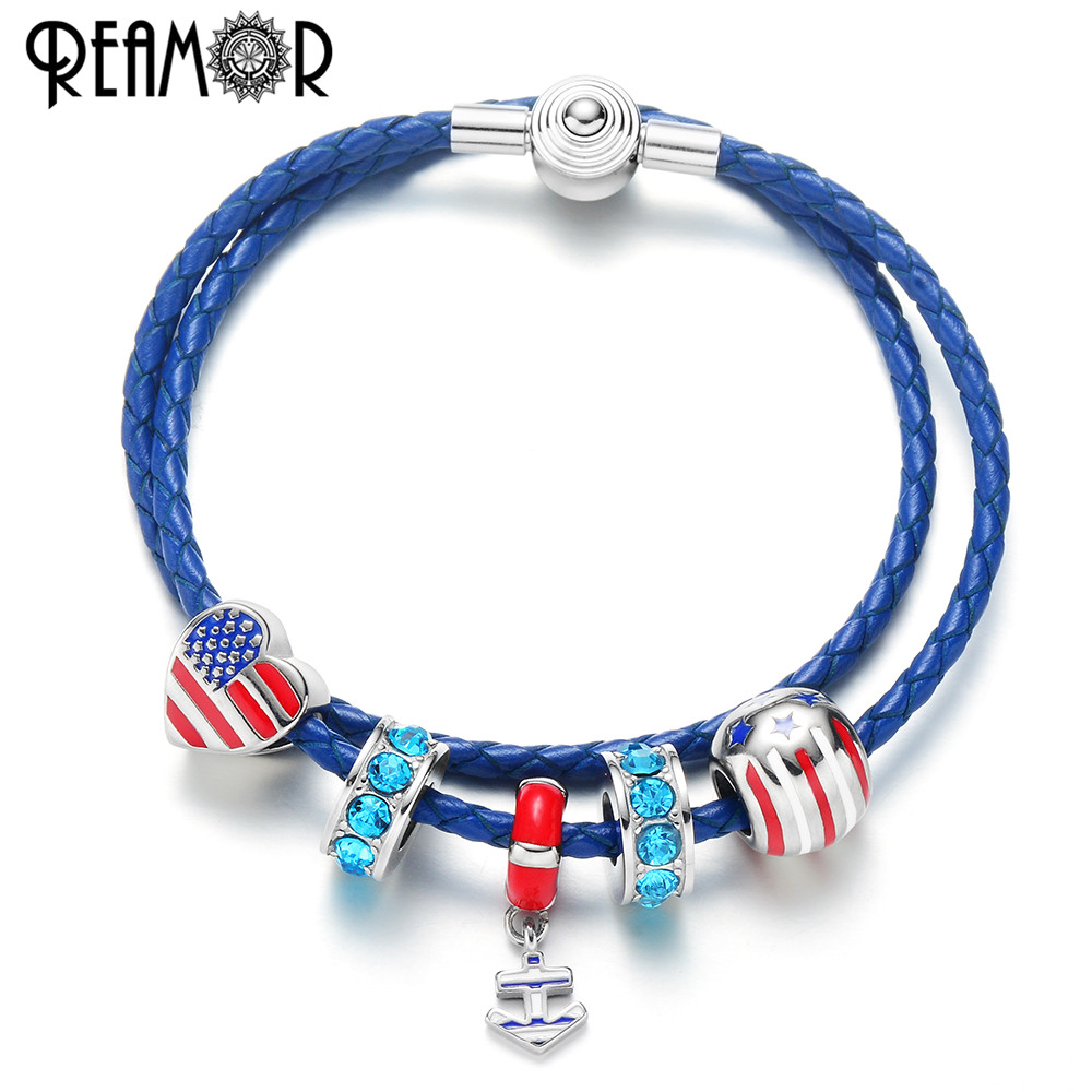 REAMOR Navy Blue Genuine Leather Bracelets Women Anchor Charm Bracelets Heart American Flag Blue CZ Bracelets Jewelry Love USA