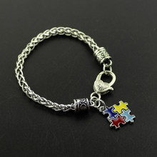 Autism Awareness Puzzle Jigsaw Colorful Fashion Square Enamel Charm Bracelet Friendship Jewelry For Women And Men Bracelets 2017(China)