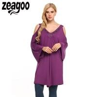 Zeagoo Women Casual T Shirt Cold Shoulder 3 4 Sleeve V Neck Asymmetric Long T Shirts