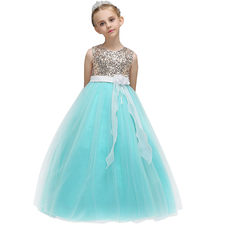 Retail Embroidery Hollow Princess Evening Party Long Dress With Flower Elegant Tassel Flower Girls Dress LP-74