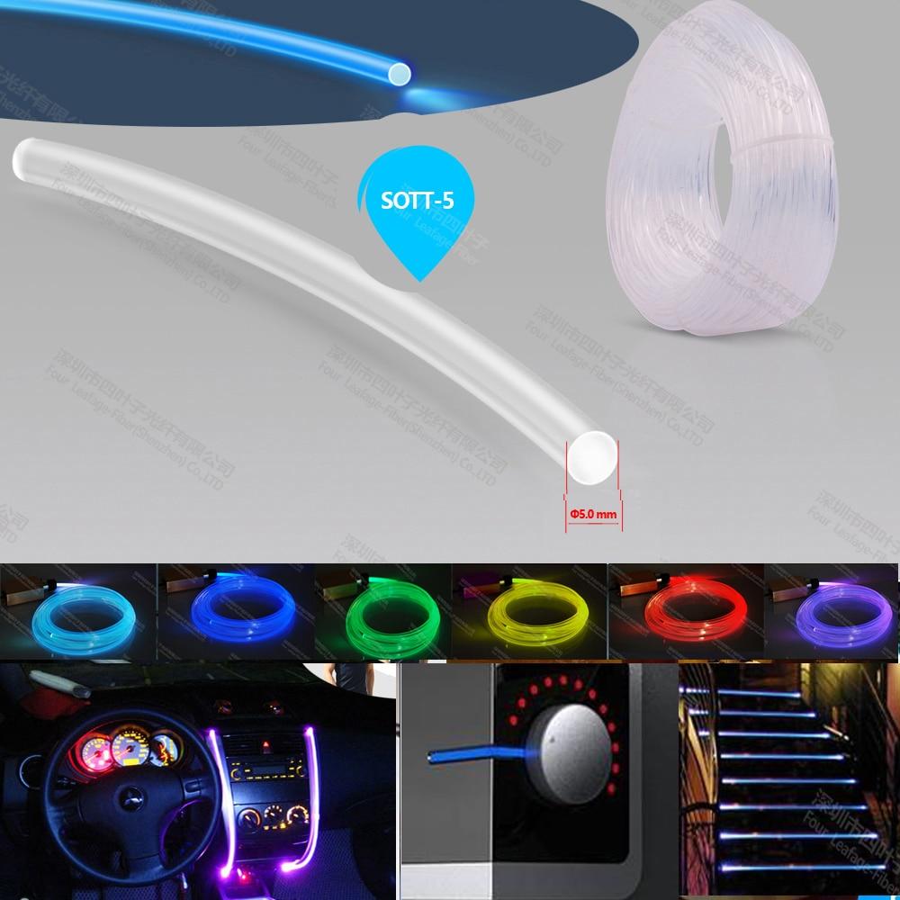cable de fibra óptica de núcleo sólido de 5 mm súper brillante cable de fibra óptica cable de luz lateral para decoración de iluminación