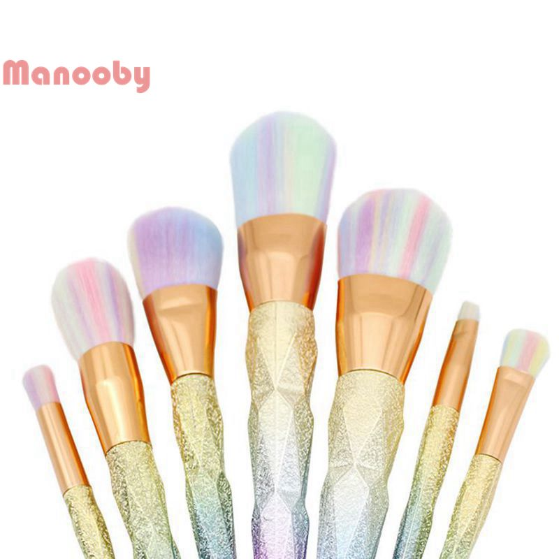 Manooby 10pcs Shining Makeup Brushes Rhinestone Tools Pro Powder Foundation Eye Lip 2018 Face Brush Kit Makeup Brushes Set