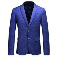 Royal Blue Mens Blazers New Arrivals 2017 Plaid Party Wear Dresses Skinny Classic Vintage Suits Jacket