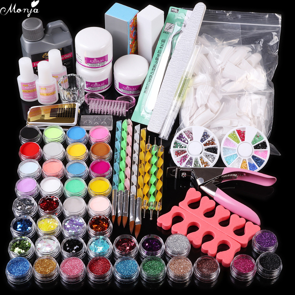 42 color Nail Art Glitter Powder Sequins Acrylic Powder Liquid Brush Glue Dotting Pen Tweezer Rhinestones Buffer Block Kit set
