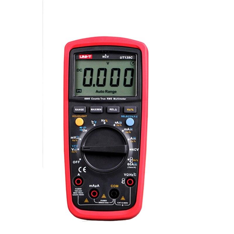 2017 New UNI-T UT139C Digital Multimeter True RMS Auto/Manual Range AC/DC Voltmeter Ammeter C/F temperature Tester Multi Meter mini multimeter holdpeak hp 36c ad dc manual range digital multimeter meter portable digital multimeter