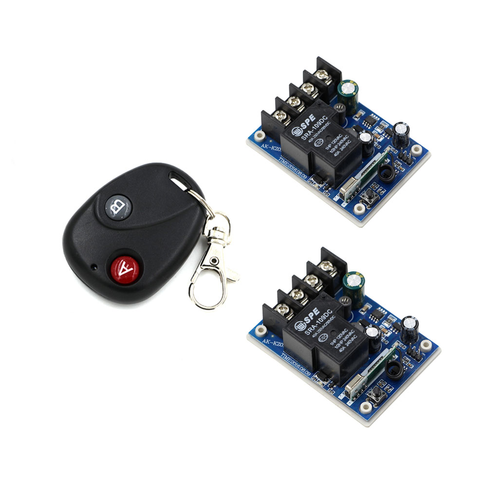 DC12V 24V 36V 48V 1CH 30A Relay Wireless Remote Control Switch System Two Buttons Transmitter With 2*Receivers for Light & Alarm 2 receivers 60 buzzers wireless restaurant buzzer caller table call calling button waiter pager system