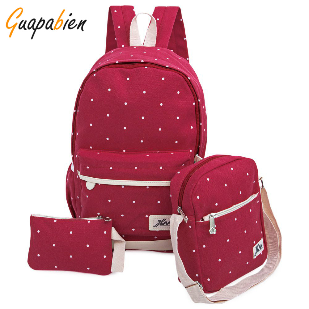 School bag new design - Guapabien 3pcs 1 Set Casual Korean Dot Print Canvas Backpack Girl Teenage School Bags Preppy Style