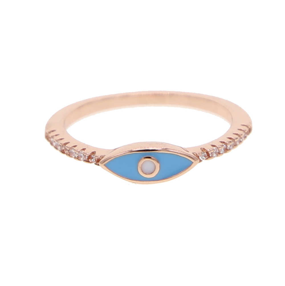 ตุรกีเคลือบตาสีฟ้า Midi แหวน Minimalist Punk rose Gold สี Knuckle แหวนสำหรับสาวแฟชั่นเครื่องประดับ