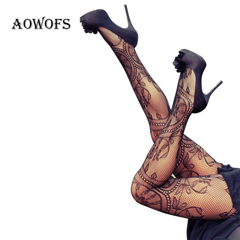 AOWOFS Women Hollow Tights Lace Pantyhose Sexy Stockings Autumn Fishnet Stockings High Elastic Vintage Pantyhose Black Tights