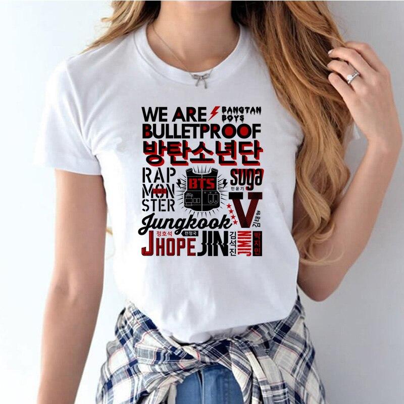 Bts kpop Bangtan Boys summer t-shirt k-pop women Short Sleeve T shirt k pop O-neck White kawaii kpop t shirt female WT1012