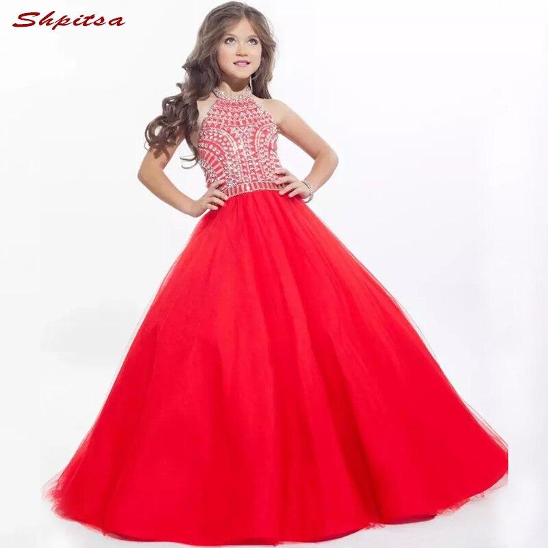 Red Luxury   Flower     Girl     Dresses   for Weddings Evening Flowergirl First Communion Pageant   Dresses   for   Girls   Wedding