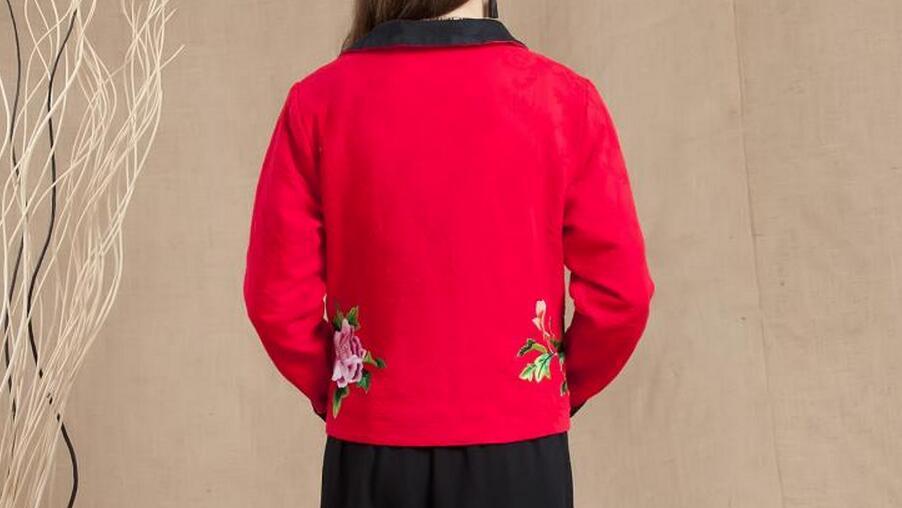 Broderie Costume rose Court Femmes Longues vert Red Xl Chinois Nouvelle À Mode 4xl D'hiver Noir Manteau 2018 Style Manches Chaude Matelassé red nnxqvwAHS