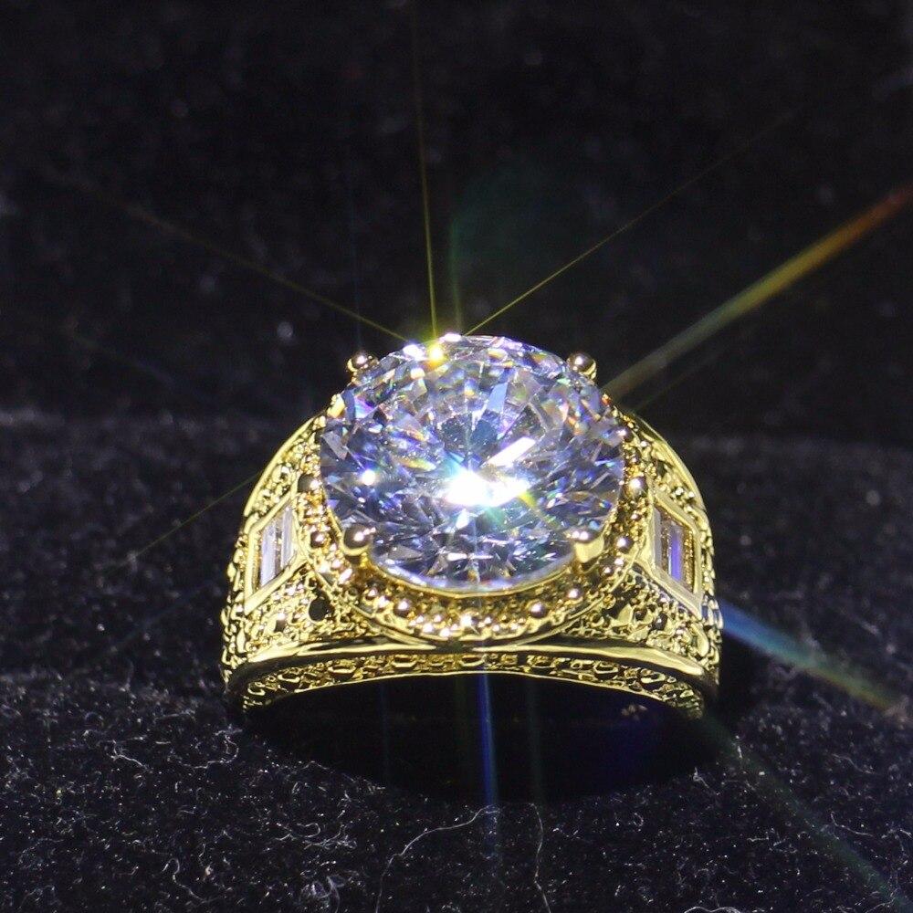 Taille 8-13 Shinning Marque New Vintage Bijoux Gold Filled Round Cut clair 5A Cubique Zircon De Mariage Hommes Bague Cadeau Avec la boîte