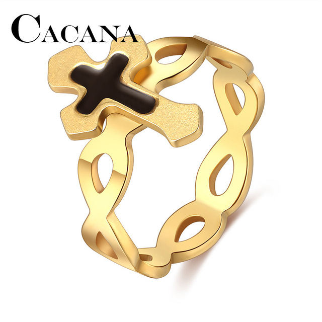 CACANA Titanium Stainless Steel Rings For Women Cross Circle Engagement Fashion