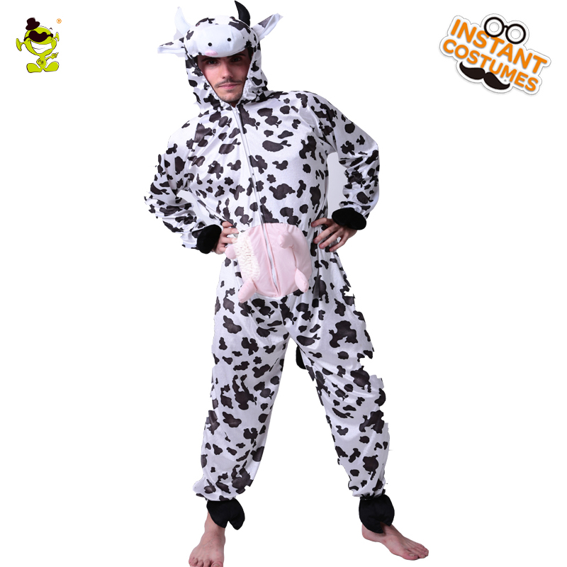 Fun Cow Costume Unisex Adult Pajamas Kigurumi Cosplay Cow Costume Animal Cow Sleepwear For Christmas Carnimal Party