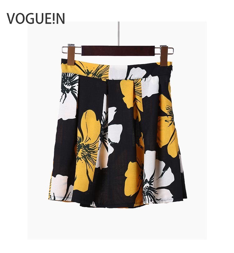 VOGUEIN New Summer Casual Simple Floral Print Petities Juniors Girls Mini Skirt Blue Yellow XS S Wholesale