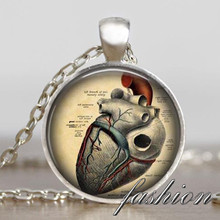 Anatomical heart pendant necklace steampunk necklace gothic necklace science pendant biology heart necklace medical student gift
