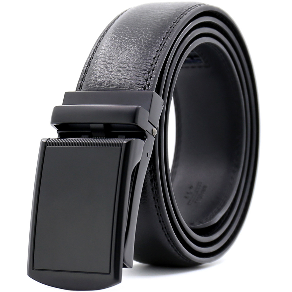 Genuine Leather Ratchet Belt 3.5cm Mens Automatic Buckle Belt Elegant Black Strap for Jeans 2017 Hot Design Belt for Men