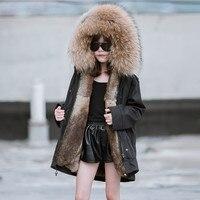 Детская одежда зимняя одежда хлопковая куртка холодной Зимние черные сапоги длинное пальто девушка мех кролика лайнер Hooded Parker Детское паль