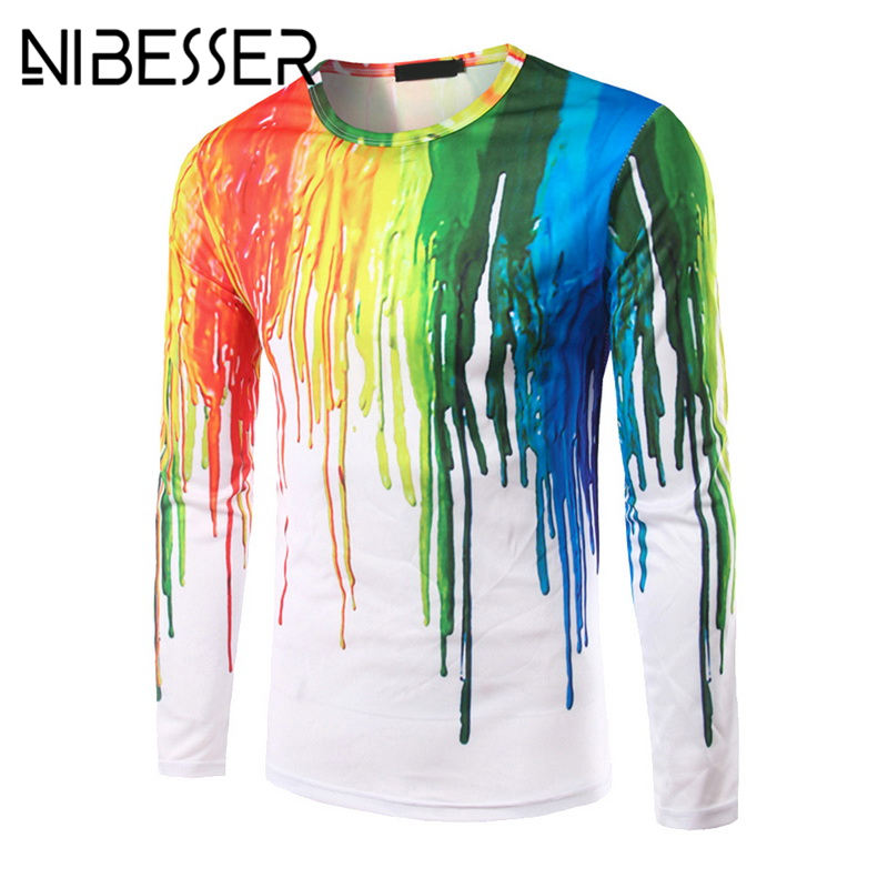 NIBESSER Funny Splashed Paint Ink 3D T-shirts Men Long Sleeve TShirts Trend Character Round Neck Printed Quick Dry Tops Tees Z40