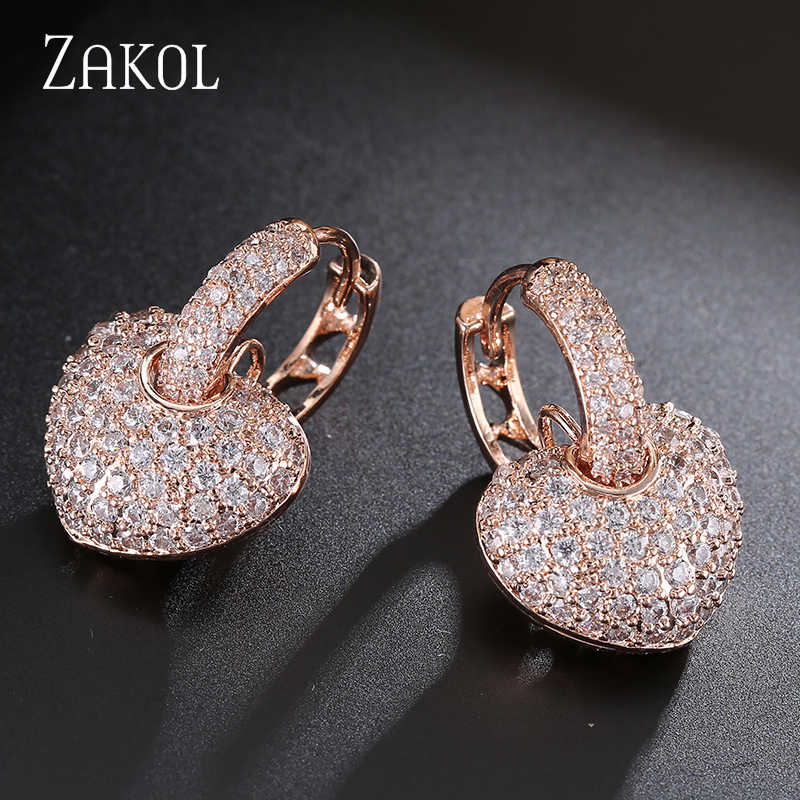 ZAKOL Hollow Love Heart Cubic Zirconia Gold Color Hoop Earrings CZ Stone Fashion Jewelry For Women Earring Big Discount FSEP546