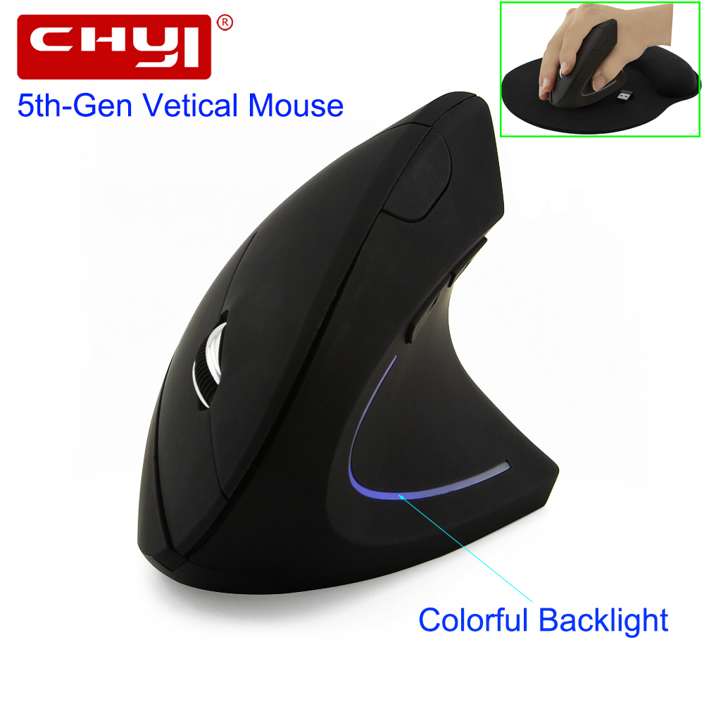 CHYI Wireless Mouse Ergonomic Optical 2.4G 800/1200/1600DPI Colorful Light Wrist Healing Vertical Mice with Mouse Pad Kit For PC chyi wired mouse ergonomic vertical 800 1000 1200 1600dpi 5 keys usb gaming mice with mouse pad kit wrist rest mat for pc laptop