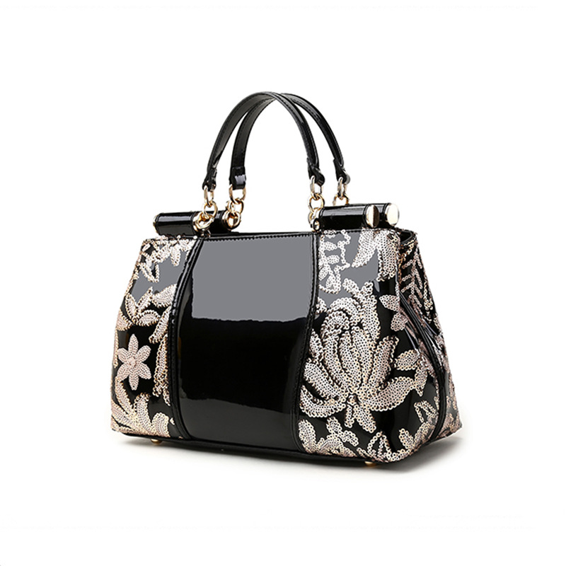 patent leather Flowers Embroidery Appliques glossy surface women luxury style handbag Casual Ladies Tote shoulder Bag luxury chinese style women handbag embroidery ethnic summer fashion handmade flowers ladies tote shoulder bags cross body bags
