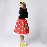 Qybian Summer Style Sexy skirts for women Fashion midi skirts High waist Red  dot printed women dabf2a872bc9