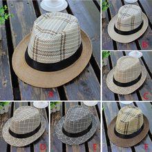 62883ee7 2019 fashion summer cool Unisex Trilby Gangster Cap Lattice Pattern Beach  Sun Straw Hat Band Sunhat