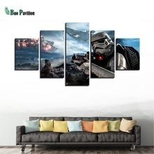 лучшая цена Modular Framework Art Poster Wall Picture 5 Panel Movie Star Wars Modern Painting Home Decor Print On Canvas For Living Room