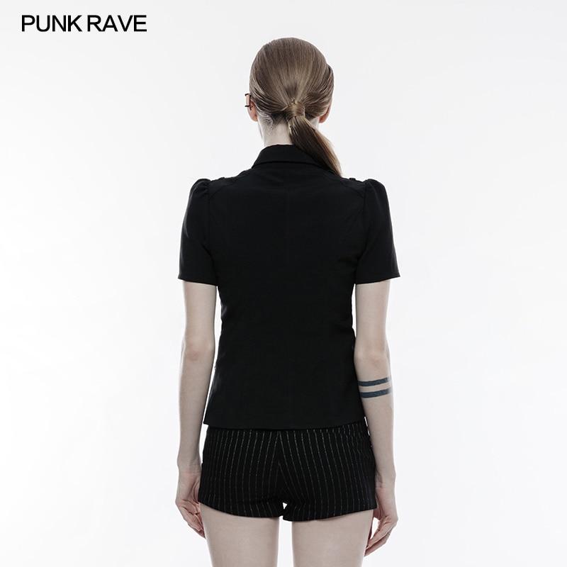 Sexy À Femmes Tops Manches Creux Militaire Gothique Punk Shirt Rave Blouse out Uniforme D'été Steampunk Courtes 56RqRYxP