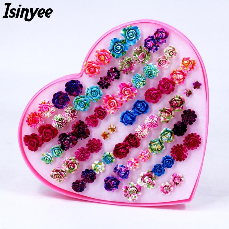 ISINYEE Fashion Rose Flower Stud Earrings Set For Women