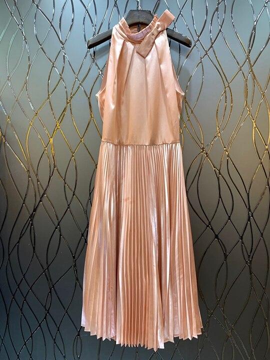 2019 Nouvelles Décolleté Américain Printemps Européen Du Robe Décoration Rose Arc De Début Fold Femmes Sans Splice 1225 Manches Au Et rqvA0xr