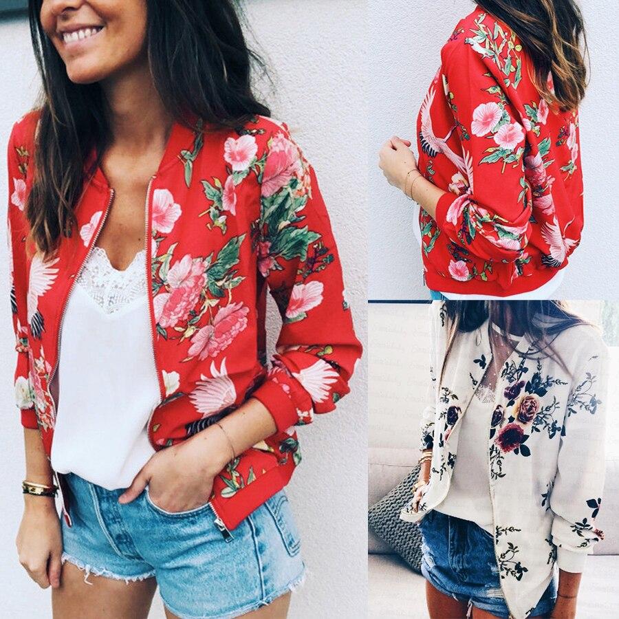 Fashion Women Casual Jacket Long Sleeve Zipper Outwear Slim Coat Floral Print Baseball Coat Women Short Jacket