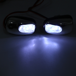 Image 5 - Boquilla de pulverización de chorro para parabrisas, luz LED blanca, accesorios para lámpara de limpiaparabrisas, 12V, 1 par