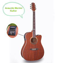 Electro Acoustic Electric Folk Pop Flattop Guitar 41 Inch Guitarra 6 String Sapele Red Light Built-in Tuner Cutaway Musical