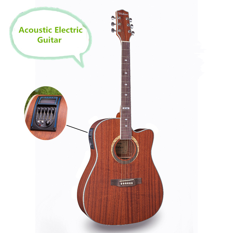 Steel-String Flattop Guitar Electro Acoustic Electric Dreadnought 41 Inch Guitarra 6 String Sapele Red Built-in Tuner Cutaway two way regulating lever acoustic classical electric guitar neck truss rod adjustment core guitar parts
