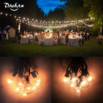 DACHAN 11M Patio Lights G40 Globe Party Christmas String Light Waterproof For Decorative Outdoor Backyard Wedding Light Strings vnl g40 string lights with 25 g40 clear globe bulbs listed for indoor outdoor vintage backyard wedding decoration string lights