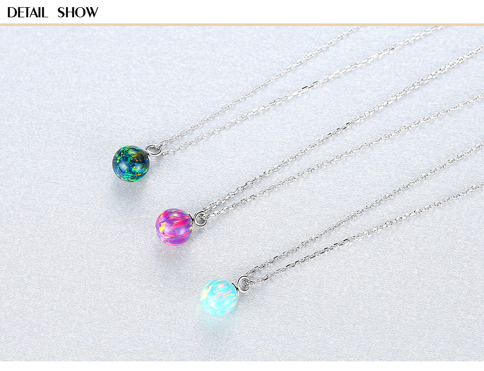 S925 sterling silver necklace clavicle chain simple wild ball red pendant CLS07