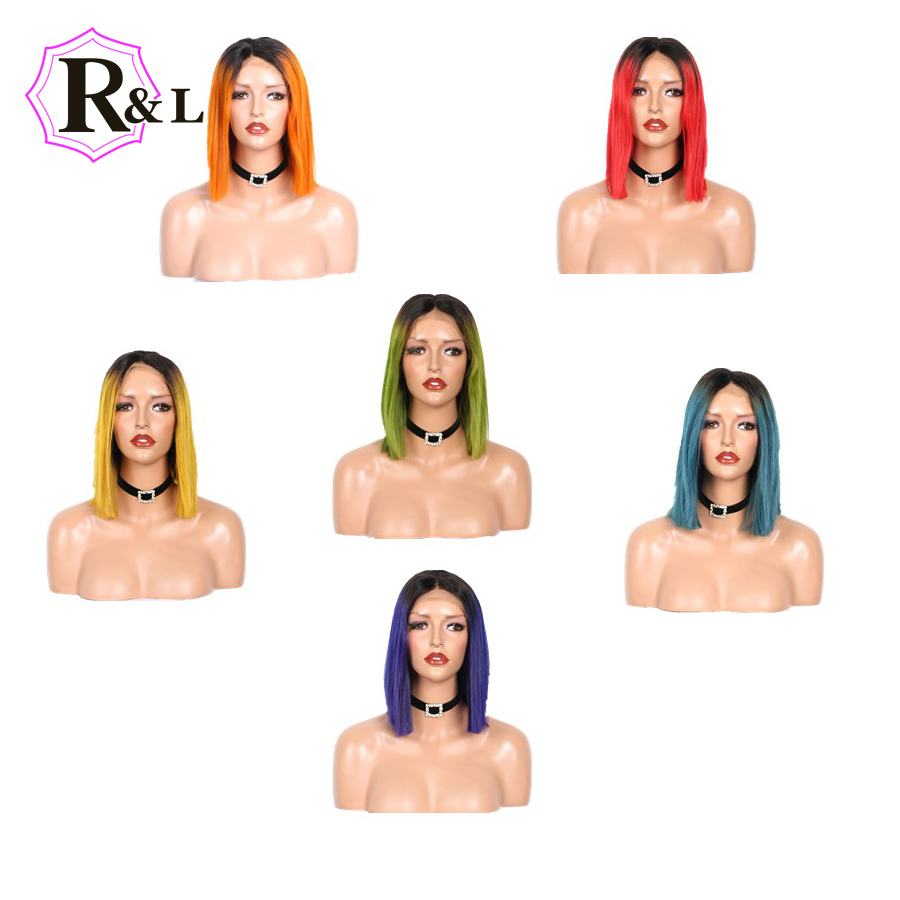 Rulinda Ombre Color Short Bob Wig 13 4 Lace Front Human Hair Wigs Pre Plucked Straight