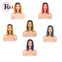 Rulinda Ombre Color Short Bob Wig 13*4 Lace Front Human Hair Wigs Pre Plucked Straight Brazilian Remy Hair Lace Wigs For Women
