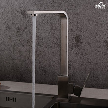 wholesale SUS304 stainless steel wire drawing kitchen faucet tube cold heat sink faucet that can rotate square 7 words