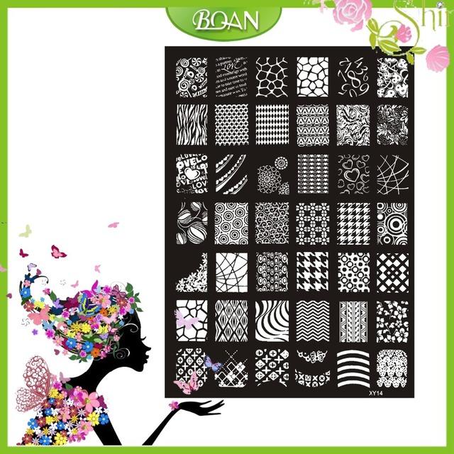 10 Unids Nuevo Diseño BQAN Figuras De Acero Inoxidable/Corazón/Flor de la Serie de Imágenes Nail Plate Estampación XY14