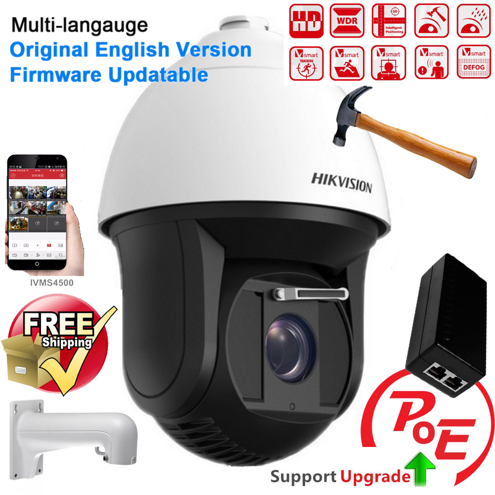 Hikvision Original English DS-2DF8223I-AELW 2MP Ultra-low Light Smart PTZ Camera 23X optical zoom with wiper and POE 2017 new ds 2df8836iv aelw english version 4k smart ir ptz camera poe camera with wiper