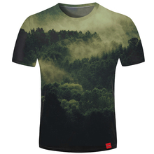Cloudstyle 2019 3D Tshirt Men Mountain Forest Print Tees Shirt Short Sleeve Fashion Hipster New Summer Tops Streetwear Women