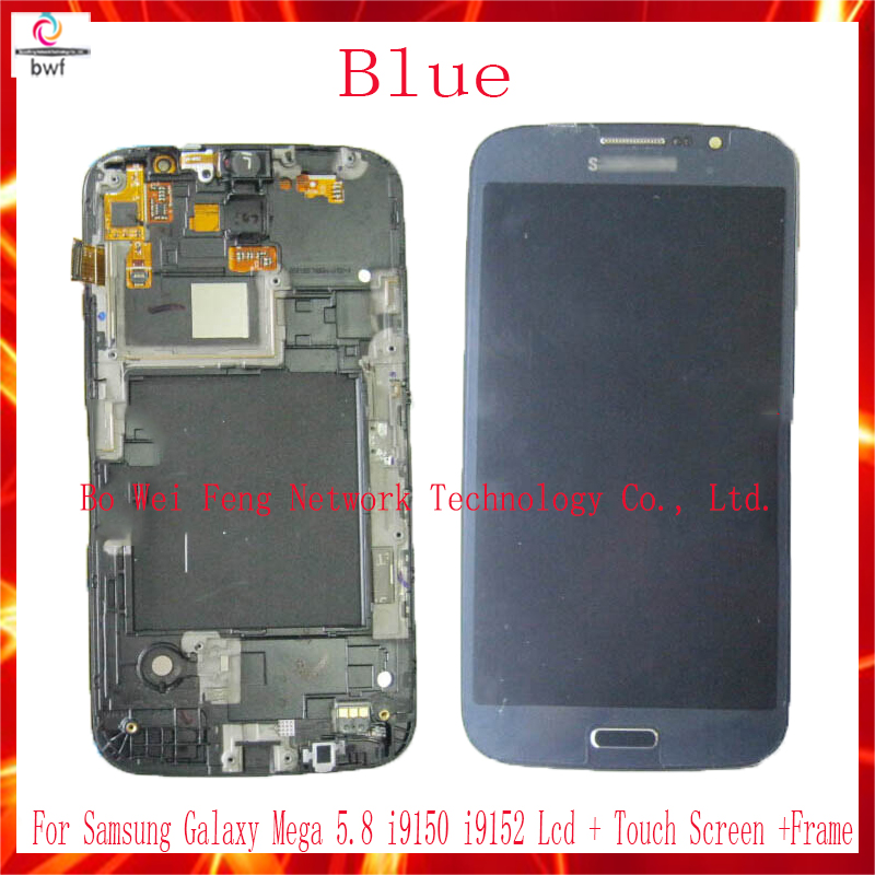 ФОТО 50Pcs Original LCD For Samsung GALAXY Mega 5.8 i9150 I9152 LCD Display Touch Screen Digitizer Assembly With Frame Free Shipping
